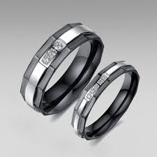 silver steel rings images Black and silver stainless steel with cubic zirconia couple rings jpg