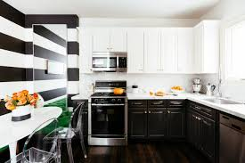 black and bold kitchen designs with windows and pendant lamps