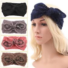 knitted headbands 2016 women knitted bow headbands twisted knot elastic crochet hair