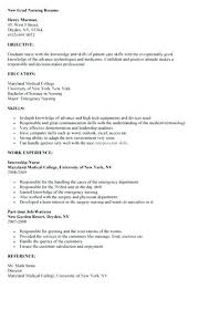 Resume Example Nursing Student Resume by Sample Nursing Resume For New Graduate Graduate Nursing Resume