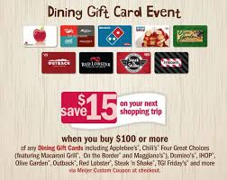 buy gift cards at a discount gift card deals meijer get 15 back when you purchase 100 or