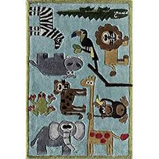 Kids Animal Rugs Amazon Com Momeni Rugs Lmojulmj19blu2030 Lil U0027 Mo Whimsy