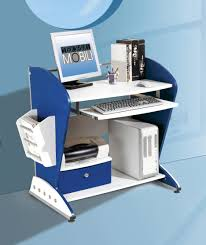 Modern Computer Desk For Home by Modern Blue Desk With Three White Floating Shelves To Put A Set Of