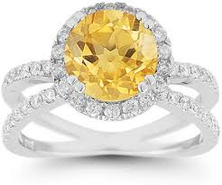 citrine engagement rings criss cross pave diamond and citrine halo ring