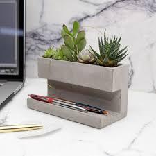 kikkerland large concrete desktop planter