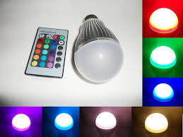 10w change rgb led light bulb l ac 85 265v 24 key ir remote