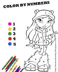 bratz coloring pages color numbers free printable coloring