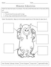 free monster adjectives worksheet sheepy dreams tpt