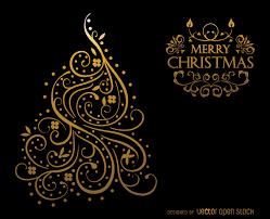 gold swirls christmas card design vector download