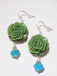 drop bead green carved resin aqua bead drop earrings blue velvet vintage
