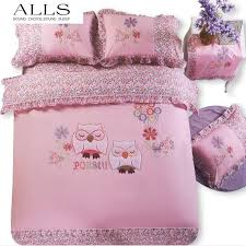 Duvet Covers Kids 100 Cotton Owl Bedding Sets Cartoon Embroidery Bed Linen Cat