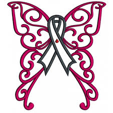 wings cure diabetes ribbon applique machine embroidery design