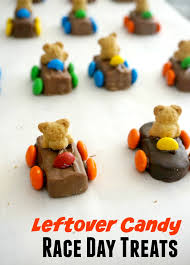 edible race car treats with leftover candy forks and folly
