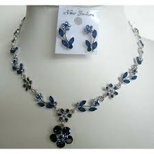 sapphire necklace earrings images Blue enameled sapphire crystals necklace earrings set jpg