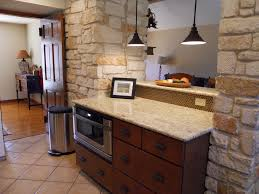 bar view with drawer microwave austin stone penny tile