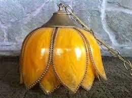 vintage hanging flower swag lamp yellow tulip lotus flower