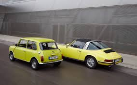 wallpaper classic porsche classic mini and porsche 911 motion 8 2560x1600 wallpaper