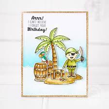 sunny studio pirate pals belated pirate birthday card with lexa