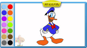learn colors for kids and color donald duck coloring page pt 16