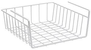 Cabinet Baskets Storage Amazon Com Under Shelf Basket Wire Rack Easily Slides Under