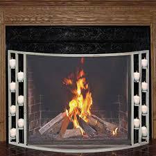 pilgrim 44 u0027 u0027 x 31 u0027 u0027 polished nickel candlewood tea light fireplace