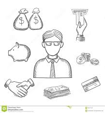 banker money and finance sketch icons stock vector image 65271257