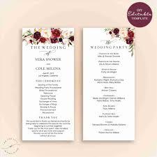 wedding mass program template programs templates modern diy ideas on free printable