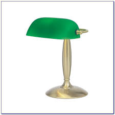 vintage bankers piano student library brass green glass shade with