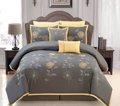 amazon com sunshine yellow grey comforter set embroidery bed in
