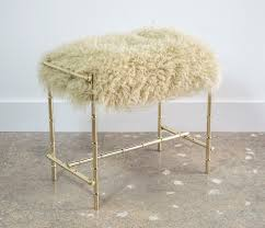 Bamboo Vanity Mid Century Brass And Sheepskin Faux Bamboo Vanity Stool Sold