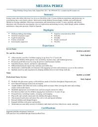 nanny resume template nanny cv exle for personal services livecareer