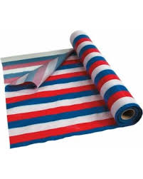 big deal on white blue striped plastic tablecloth roll