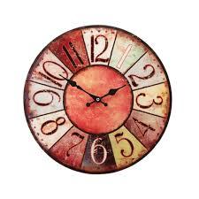 38cm large round glass shabby wall clock vintage retro antique
