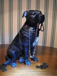 black staffordshire bull terrier black staffy ornament figurine