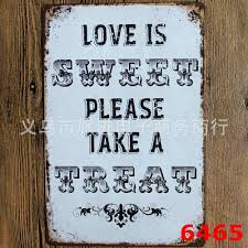retro metal wall art tin sign dance love sing live wall quote