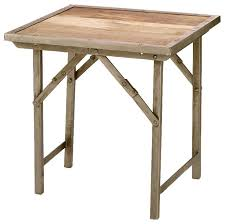 Outdoor Folding Side Table Campaign Folding Side Table Natural Wood Transitional Side