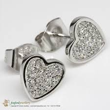 heart shaped earrings silver heart shaped earrings foxford jewellery