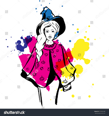 pink witch costume girls witch costume illustration contour on stock vector 577918186