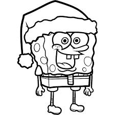 print spongebob squarepants christmas santa coloring page or