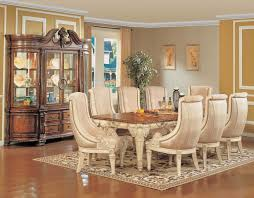 Black And Cream Dining Room - classic luxurious formal dining room with cream upholstered dining