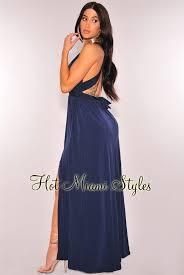 navy blue button down multi wear maxi dress