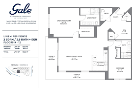 the gale line 4 floor plan 2 bed 2 5 bath floors 9 12