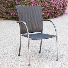Stackable Wicker Patio Chairs Royal Garden Ludwig Wicker Patio Stacking Dining Arm Chair Set Of 4