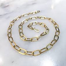 handmade chain necklace images Petra class handmade heavy oval links matte gold chain link jpg