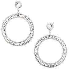 post earrings meander key earrings sterling silver large hoop dangling
