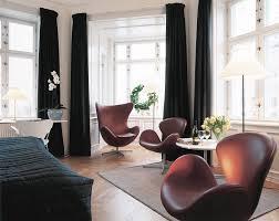 Swan Chair Leather Furniture Elegant Scandinavian Living Room Design With Brown