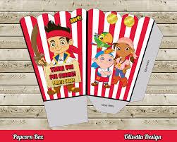 jake and the neverland pirates popcorn box with custom name