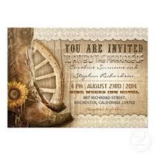 boots and sunflower wedding invitations card wedding decor theme