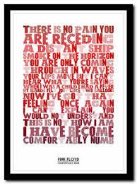 Pink Floyd Lyrics Comfortably Numb Pink Floyd Comfortably Numb Lyric Poster Typography Art