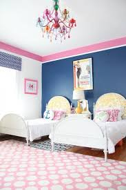 Girls Bedroom Accent Wall Pink And Navy Blue Shared Girls Bedroom Transitional